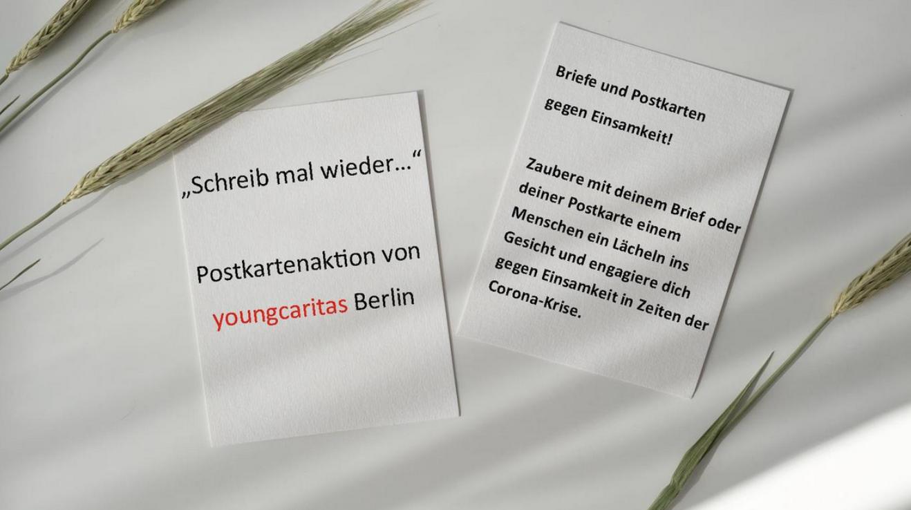 Zwei Briefe von der youngcaritas Hilfe in Berlin zum Thema Newcomer*innen gegen Corona